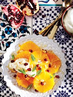 Moroccan oranges with yogurt, honey and mint - Maroc Désert Expérience tours http://www.marocdesertexperience.com