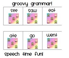 Speech Time Fun: Groovy Grammar: matching cards for all noun and verb tenses!