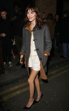Alexa Chung tried bare legs this week - we still think it's too cold for it!