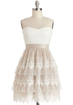 This could function as a more causal wedding dress. Elegant Elevations Dress, @ModCloth