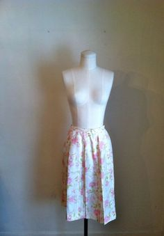 vintage 60s skirt  PINK CARNATIONS pleated skirt / XSS by MsTips, $30.00