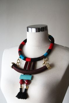 Mixed Media Necklace Statement Necklace African Inspired di elifus, $112.00