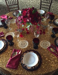 Marsala Centerpieces on Gold Table Article: Marsala Wedding Ideas Inspired by Pantone's Color of the Year  Photography: Courtesy of Designs by Tricia Read More: http://www.insideweddings.com/news/planning-design/marsala-wedding-ideas-inspired-by-pantones-color-of-the-year/2023/