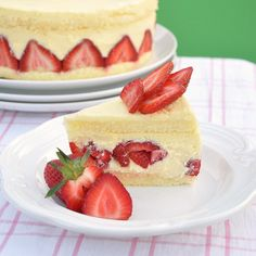 Fraisier cake - buttery pastry cream and strawberries sandwiched between layers of sponge cake