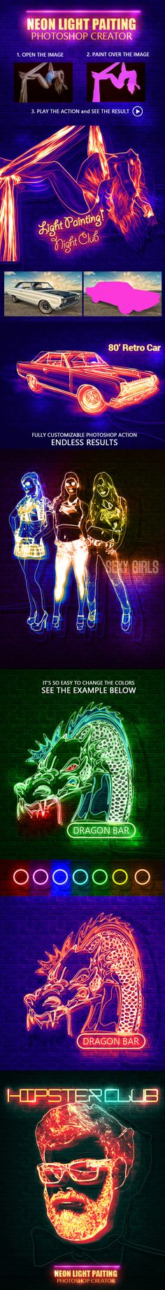 Neon Light Painting Photoshop Action - Photo Effects Actions
