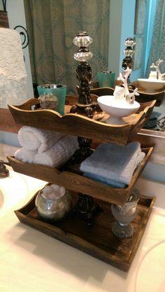wood vanity trays for bathroom