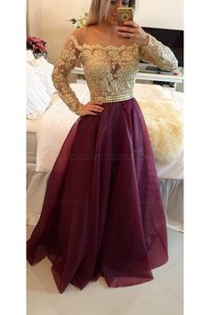 A-Line Off-the-Shoulder Long Sleeves Gold Lace Prom Evening Formal Dresses 3020025