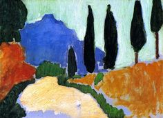 Cypresses, 1907. André Derain was a French artist, painter, sculptor and co-founder of Fauvism with Henri Matisse.