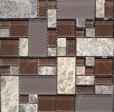 Glass mix Stone Mosaic Tiles - Earthy coloured stone mixed with glass. Nicely suited to kitchen splashbacks, matching in nicely with stone benchtops.