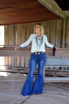 5480c4b7ad Keep on Truckin' ~ Denim Frayed Bell Bottom #jeans ~ Dark Denim ~ PREORDER