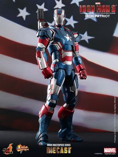 Feast your eyes on the most detailed Iron Patriot figure around--Hot Toys' 1/6th scale Iron Patriot Limited Edition Collectible Figurine from the Marvel's Iron Man 3 movie MMS Diecast Series line.