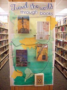 Travel the world through books   Library display   Centralia Public Library   Centralia, MO