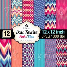 12x12 inch digital IKAT textile textures. Intricate ETHNIC ornaments for scrapbooking  by Filigrina, €2.95