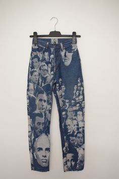 Rare collectable French Parisian 1990s vintage haute couture Jean Paul Gaultier Jeans JPG- faces - small S