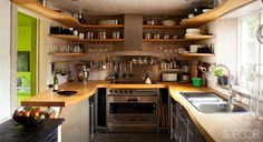 A Wall of Wrap-Around Shelving #kitchens
