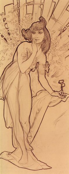 Carnation - Alphonse Mucha  Really clearly defines the main outlines.