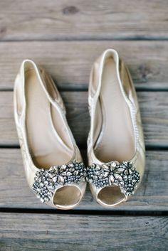 Jeweled Vera Wang bridal flats   Stacy Christian Photography