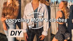 in today's video i raided my mom's closet and stole a few pieces to DIY and upcycle that turned out perfect for the summer and spring seasons! Diy Clothes Videos, Old Clothes, Clothes Crafts, Clothes Horse, Thrift Store Diy Clothes, Thrift Store Crafts, Thrift Stores, Recycled Fashion, Mom Outfits
