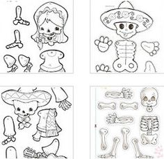 Marionetas de esqueleto para colorear