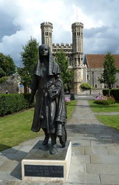 (St.) Bertha (d.612) was a 6th century Frankish princess who was raised in the Christian faith. She was married off to Aethelbert of Kent, who was a pagan king. A bold Berha brought her priest and a bishop with her to England. Bertha was able to convert her husband and promote Christianity in England. Bertha restored a church, St. Martin's, now the oldest church in continuous use in England. She may have had a role in bringing St. Augustine to England. PICTURE: Statue of Bertha, Queen of…