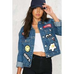 Patch Me If You Can Denim Jacket (1.154.120 IDR) ❤ liked on Polyvore featuring outerwear, jackets, blue, blue jean jacket, colorful jackets, patched jean jacket, denim patch jacket and jean jacket