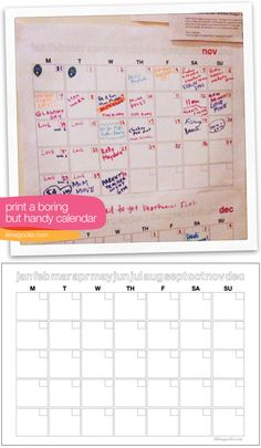 """Using this as my new fridge calendar then adding it to Project Life at the end of each month :: Free - Maddie's """"Boring but useful"""" fill-in printable calendar"""