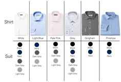 A Simple Guide of Combining the Colors of Shirts With Suits – Gentleman Lifestyle - Men Black Suit Blue Shirt, Gray Shirt Outfit, Dark Blue Suit, Black Suit Men, Blue Suits, Black Suit Combinations, Shirt And Tie Combinations, Best Dress Shirts, Suit Shirts