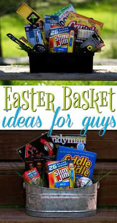 Easter Basket Ideas for Guys - Don't forget your man on Easter! Here are lots of fun Easter Basket ideas for guys! #SlimJimBoldBaskets