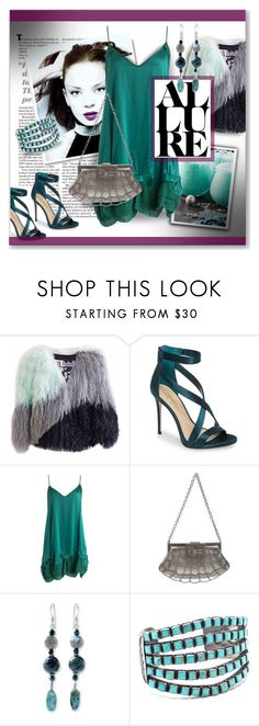 """the allure of silk"" by jara43 ❤ liked on Polyvore featuring Jennifer Lopez, Florence Bridge, Imagine by Vince Camuto, Maje, Fendi, NOVICA and Child Of Wild"