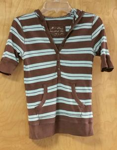 LIMITED TOO Girls Size 10 Aqua Brown Striped Short Sleeve hoodie pullover in Clothing, Shoes & Accessories, Kids' Clothing, Shoes & Accs, Girls' Clothing (Sizes 4 & Up) | eBay