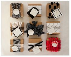 Black + White + Red  All of the product in this Etsy shop is photographed gracing beautiful packages. I love the use of yarn.  Order these ceramic tags from MStetson Design