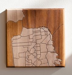 Dave Marcoullier  Wood Routing SF Neighborhood Map 7x7  by DMWR, $44.00