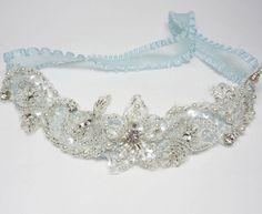 Glittering Blue Bridal Garter  Crystal beads Rhinestones by mirino, $23.00