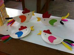Poule en carton. changer les couleurs pour rouges bleus et jaunes, plume sur la tete et voila un perroquet.