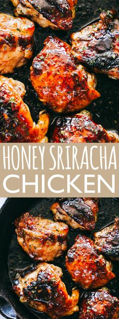Honey Sriracha Chicken Recipe with Cauliflower Rice Flavor loaded sweet and spicy honey sriracha chicken thighs served with a delicious side of cauliflower rice chickenrecipes chickendinner chickenthighs srirachachicken dinnerrecipe easyrecipe Honey Chicken Thighs, Spicy Grilled Chicken, Honey Sriracha Chicken, Sweet And Spicy Chicken, Grilled Meat, Healthy Grilled Chicken Recipes, Grilled Chicken Thighs, Chicken Breasts, Cauliflowers