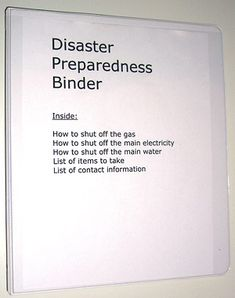 I like that this Disaster Binder has you include steps to shut off water/gas/power in case you need to evacuate. We didn't do that last time and we should have.
