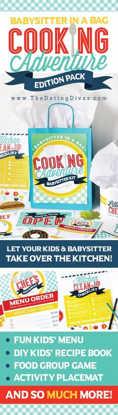 Babysitter in a Bag: Cooking Edition the perfect set of activities and ideas to keep kids busy!
