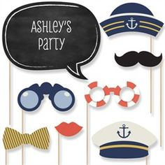 Ahoy - Nautical Baby Shower Photo Booth Props Kit  20 Props