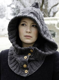 Free knitting pattern for easy hooded cowl cozy hood by gina hoods and hoodies knitting patterns dt1010fo
