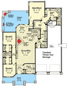 Exclusive Three Bed Country Craftsman - 48520FM   1st Floor Master Suite, CAD Available, Country, Craftsman, Den-Office-Library-Study, Exclusive, Jack & Jill Bath, PDF, Split Bedrooms   Architectural Designs