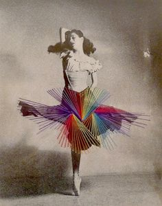 Chilean artist Jose Romussi takes vintage black & white photograph of ballerina and saw over some colorful thread adding a playful touch to their frozen posture. Source: Trendland