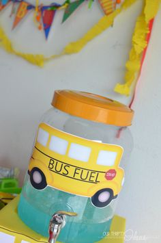 """Back to School party ideas & free printables like this """"bus fuel"""" sign for your drinks"""