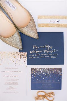 Gold and navy wedding details