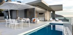Outdoor Patio Ideas White outdoor furniture2 Parasols, Outdoor Side Table, Modern Pools, Teak, Terrace, Hardwood, Houzz, Patio Ideas, Banner