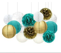 This kit is the perfect hanging party decoration for a princess themed birthday party or baby shower or any pink and gold party. KIT INCLUDES (15PIECES): 6 * 8 inch paper lantern (2 of each white,teal and gold) 6 * 10 inch tissue paper flower(2 of each white,teal and gold) 3 * 8 inch white honeycomb ball Give a special touch to your next party with this darling combination of hand-made tissue paper pom poms, honeycomb tissue balls and paper lanterns. Tissue pom poms arrive flat and include…