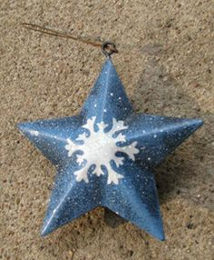 "OR505-Blue Star w/snowflake Metal Christmas Ornament  3 1/2"" x 3 1/2"" $ 1.50"