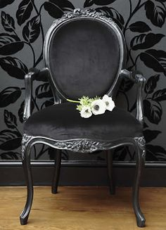 Buy the beautifully designed Sassy Boo Boudoir Lady's Black Velvet Chair, by The French Bedroom Company. French Chairs, Black Chair, Matching Furniture, Black Velvet Chair, Chair Makeover, Beautiful Furniture, Velvet Chair, French Furniture Bedroom, Armchair