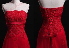 Red lace wedding dress, the bride dress wedding ,long bridesmaid dresses prom dress custom size 2-4-6-8-10-12-14-16-18-20-22-24-26-28 on Etsy, $139.00