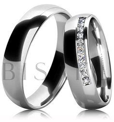 B22 Snubní prsteny z bílého zlata celé v lesklém provedení. Dámský prsten zdobený kameny. #bisaku #wedding #rings #engagement #svatba #snubni #prsteny