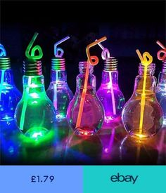 Drink Containers & Thermoses Luminous Plastic Light Bulb Shaped Bottle Drink Cup Water Bottle Party Home Deco & Garden Neon Birthday, 13th Birthday Parties, Birthday Party For Teens, 16th Birthday, Sommer Pool Party, Glow In Dark Party, Black Light Party Ideas, Neon Licht, Fete Halloween